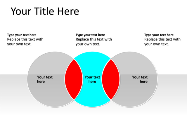 Powerpoint Slide Venn Diagram Blue 3 Circles Pl140