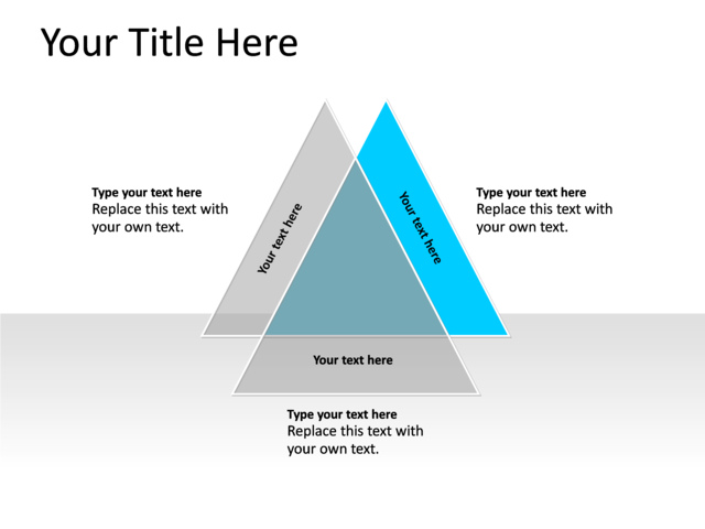Powerpoint Slide Venn Diagram Blue 3 Triangles Pl127