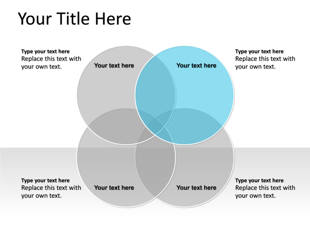 Powerpoint Slide Venn Diagram Blue 4 Circles Pl138