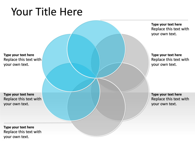 PowerPoint Slide Venn Diagram Blue 6 Circles PL134