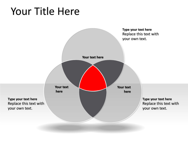 powerpoint slide venn diagram red 3 circles pl 125